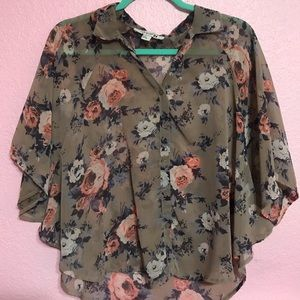 Forever 21 floral button up top